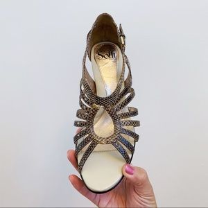 Sofft Snakeskin Leather Strappy Open Toe Heels 8.5